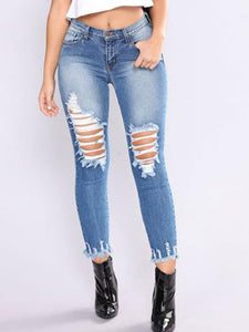 Fashion Broken Holes Patchwork Jeans