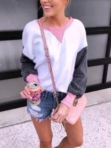 Patchwork Crew Neck Long Sleeve Sweater