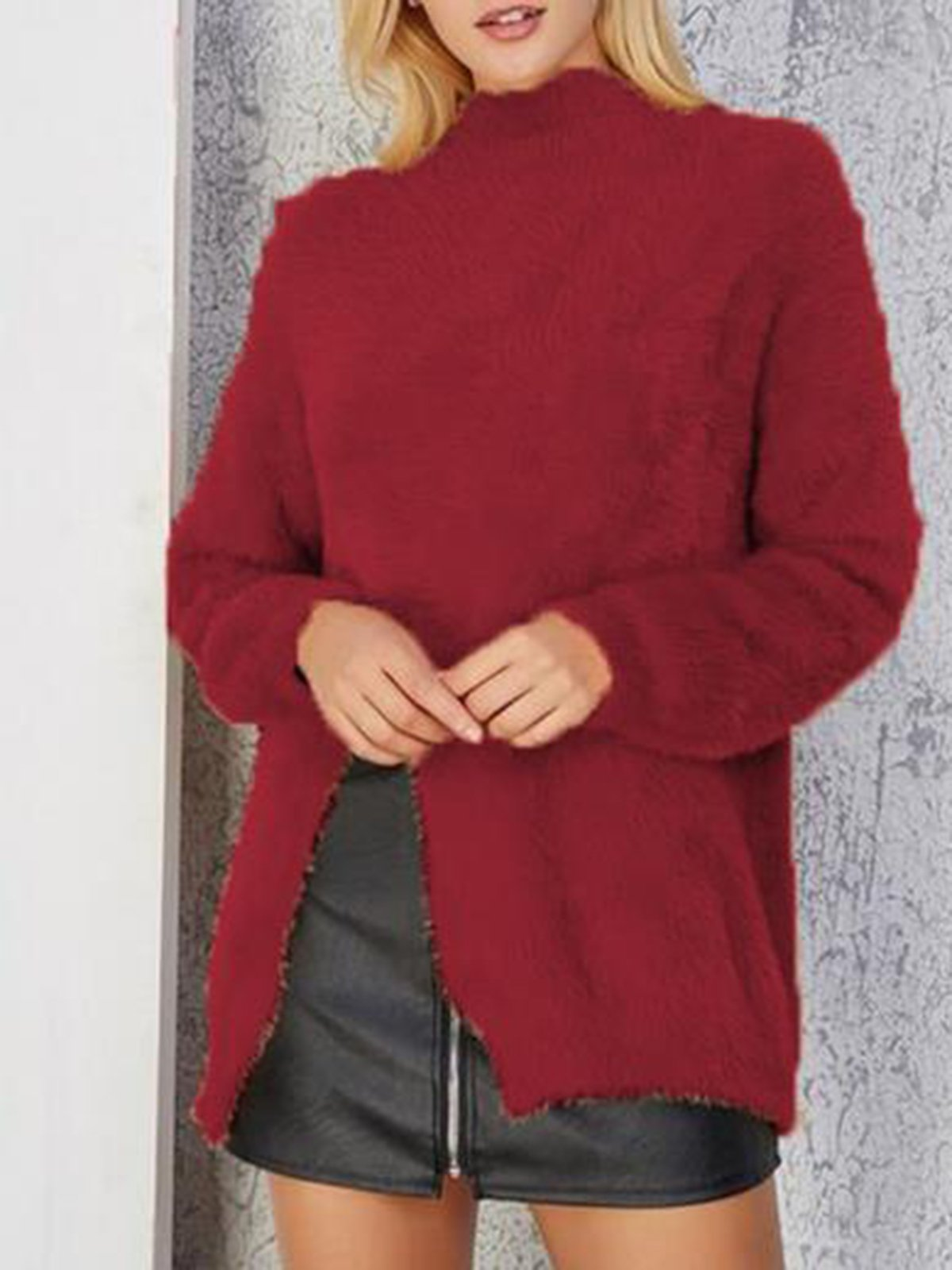 Solid Plain Turtleneck Fashion Sweater