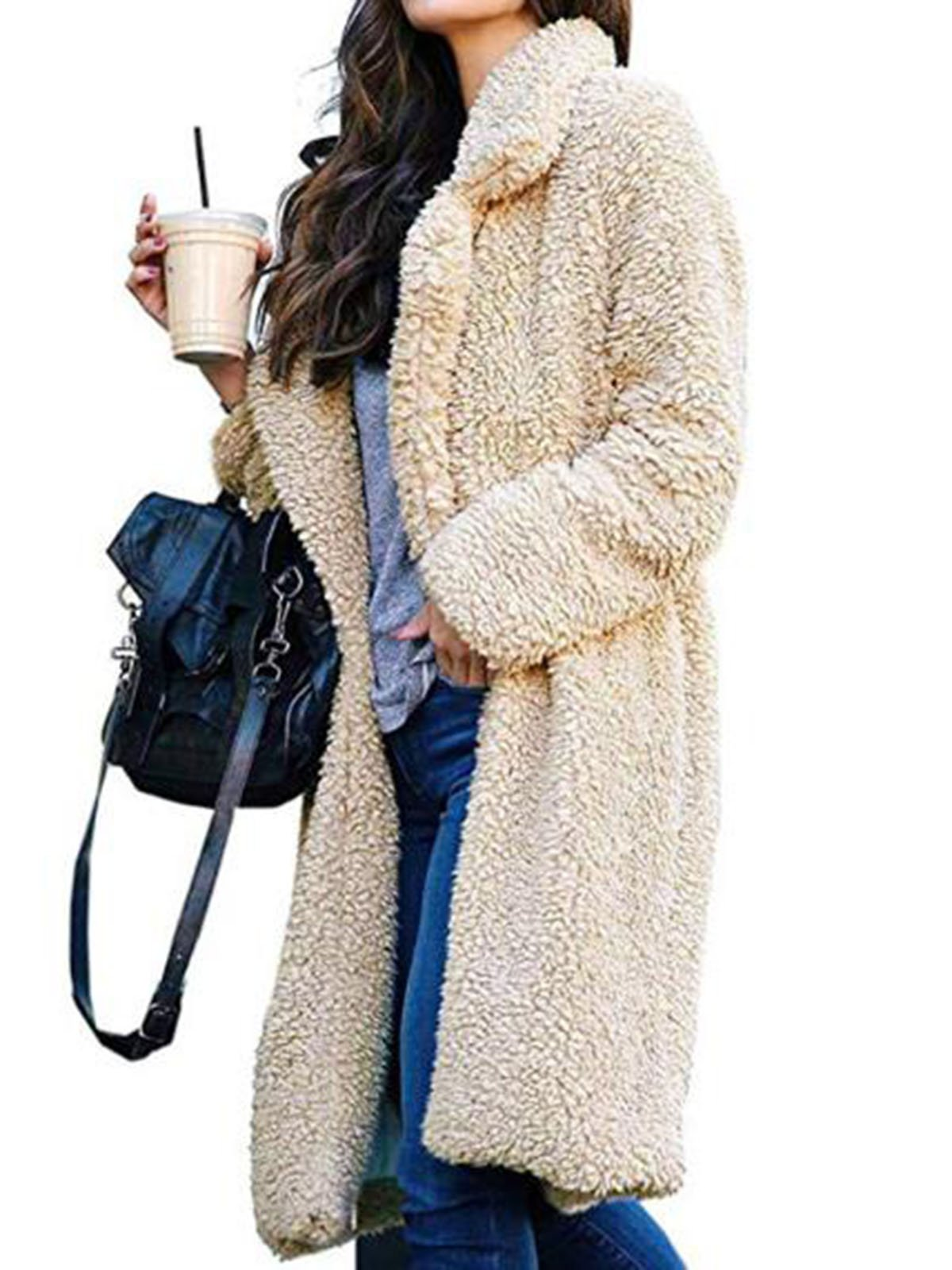 Solid Plain Lapel Fashion Coat