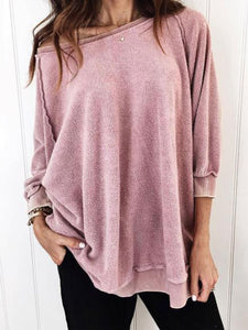 Solid Plain round neck loose hoodies