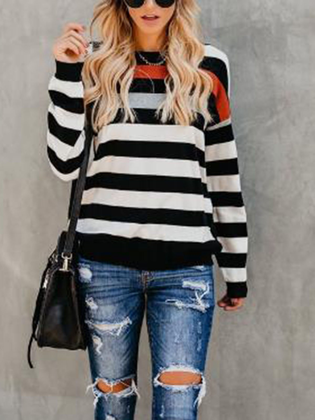 Fashion Stitching Round Neck Striped Shirt