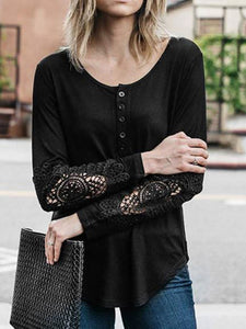 Casual Lace Long Sleeve Button Shirt
