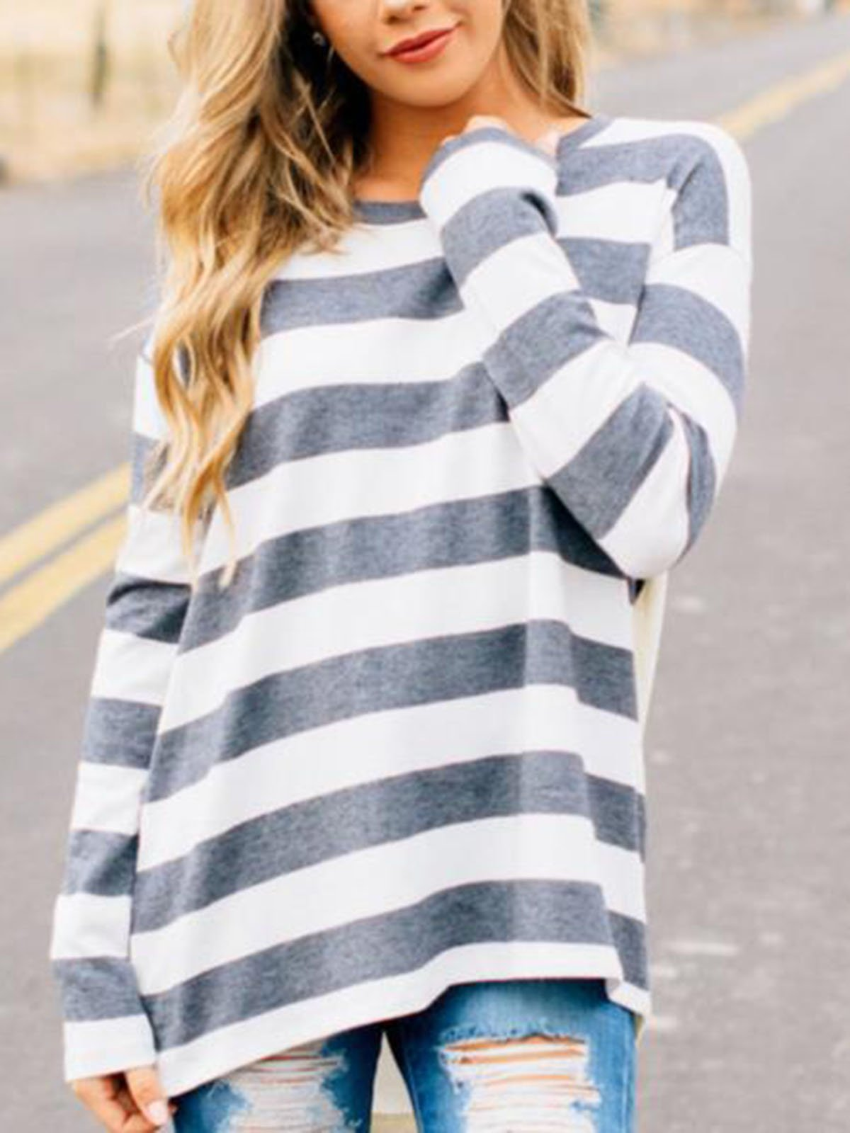 Striped Crew Neck Casual T-shirt