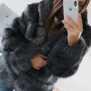 Ladies Autumn And Winter Thick Warmth Thick Imitation Rabbit Fur Coat