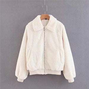 Warm Lapel Zipper Short Imitation Rabbit Fur Thick Coat - White