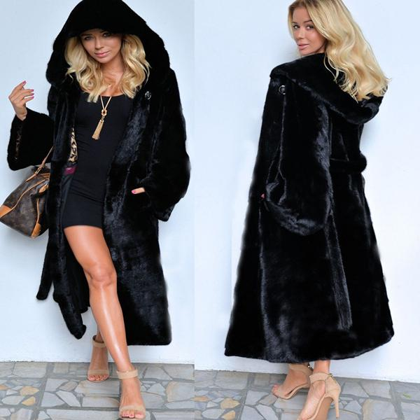 Large Size Long Skirt With Fur Coat - Black