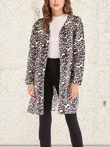Casual Leopard Print Round Neck Coat