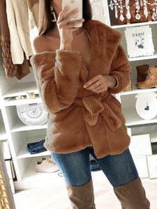 Solid Color Hooded Casual Plush Coat