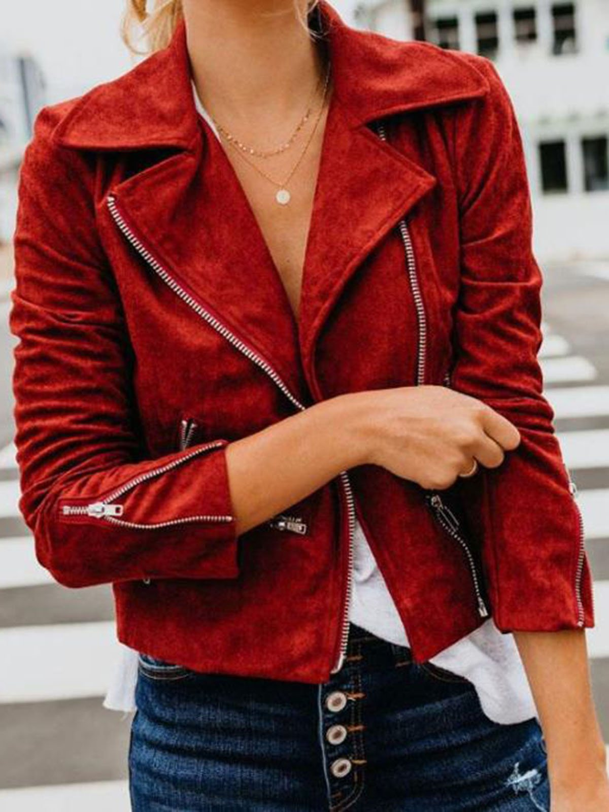Solid Color Lapel Zipper Casual Coat