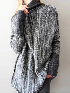 Casual Turtleneck Stitching Sweater