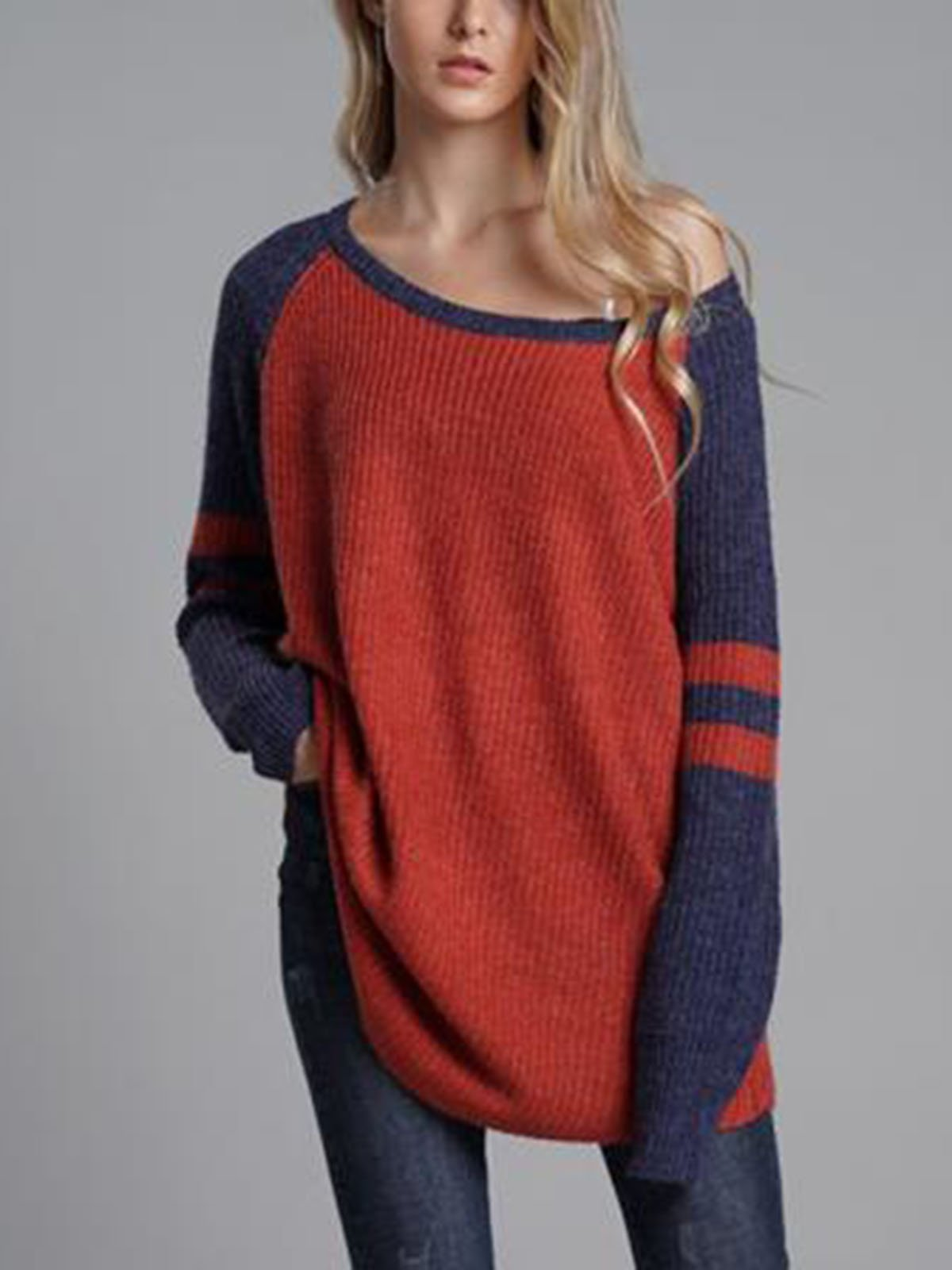 Casual Stitching Round Neck Sweater