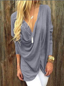 Solid Color V-neck Casual T-shirt