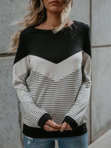 Casual Striped Crew Neck T-shirt
