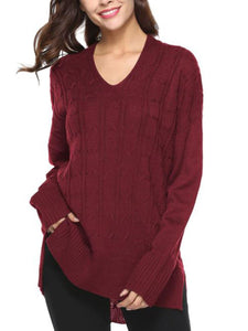 Solid Color V-neck Casual Loose Sweater