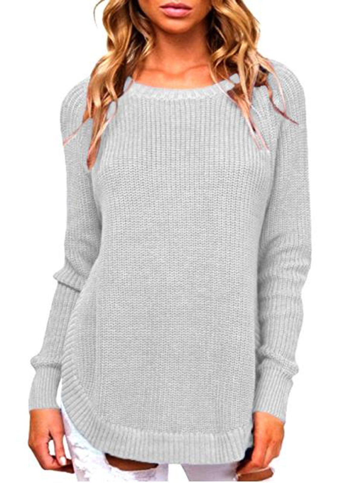 Solid Color Round Neck Raglan sleeve Sweater