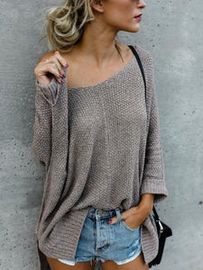 Large Size Casual V-neck Loose Sweater