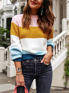 Striped Casual Round Neck Sweater
