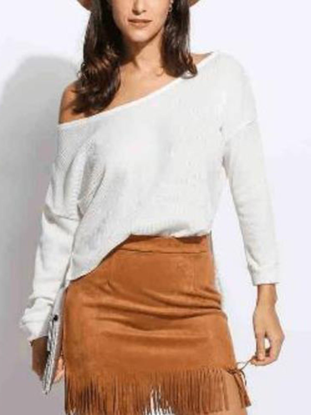Casual One Shoulder Solid Color Sweater