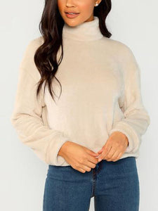Solid Plain Casual Turtleneck Plush Sweater