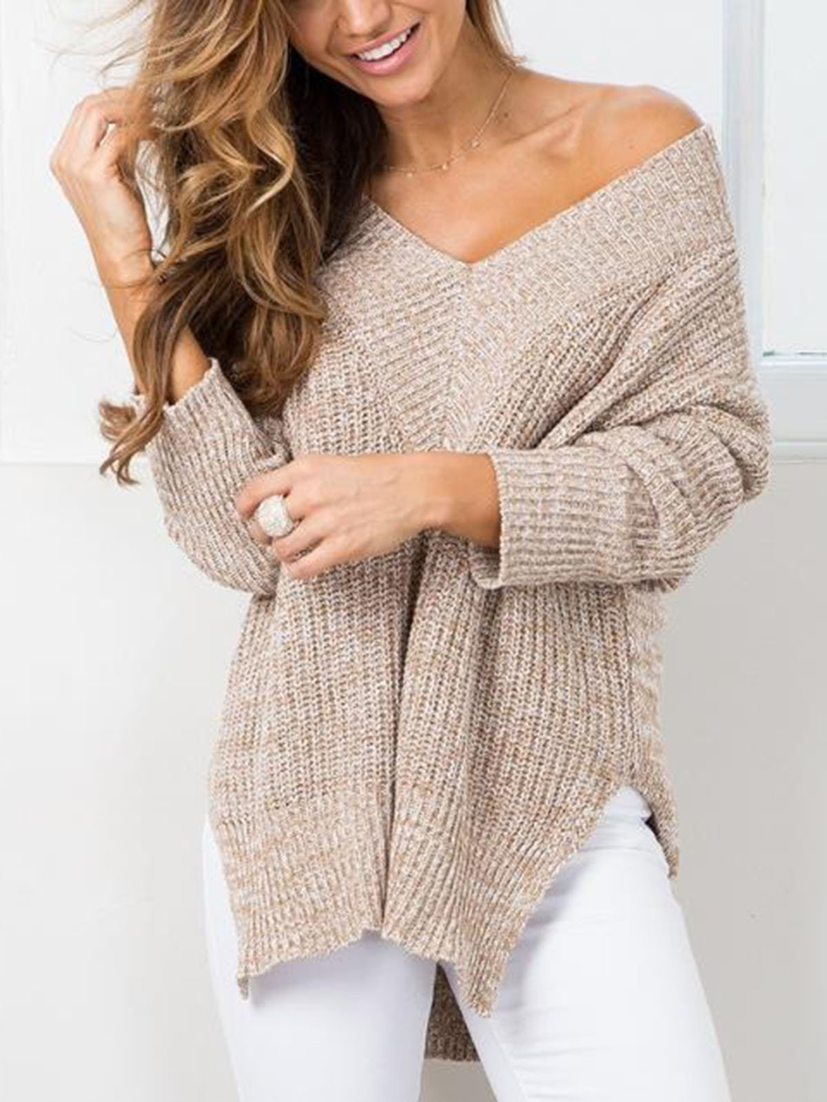 Casual V-neck Solid Color Loose Sweater
