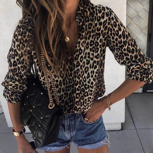 Leopard Print Casual V-neck Blouse