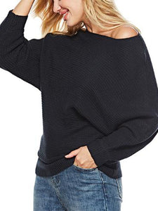 Solid Color Bat Sleeve Casual Sweater