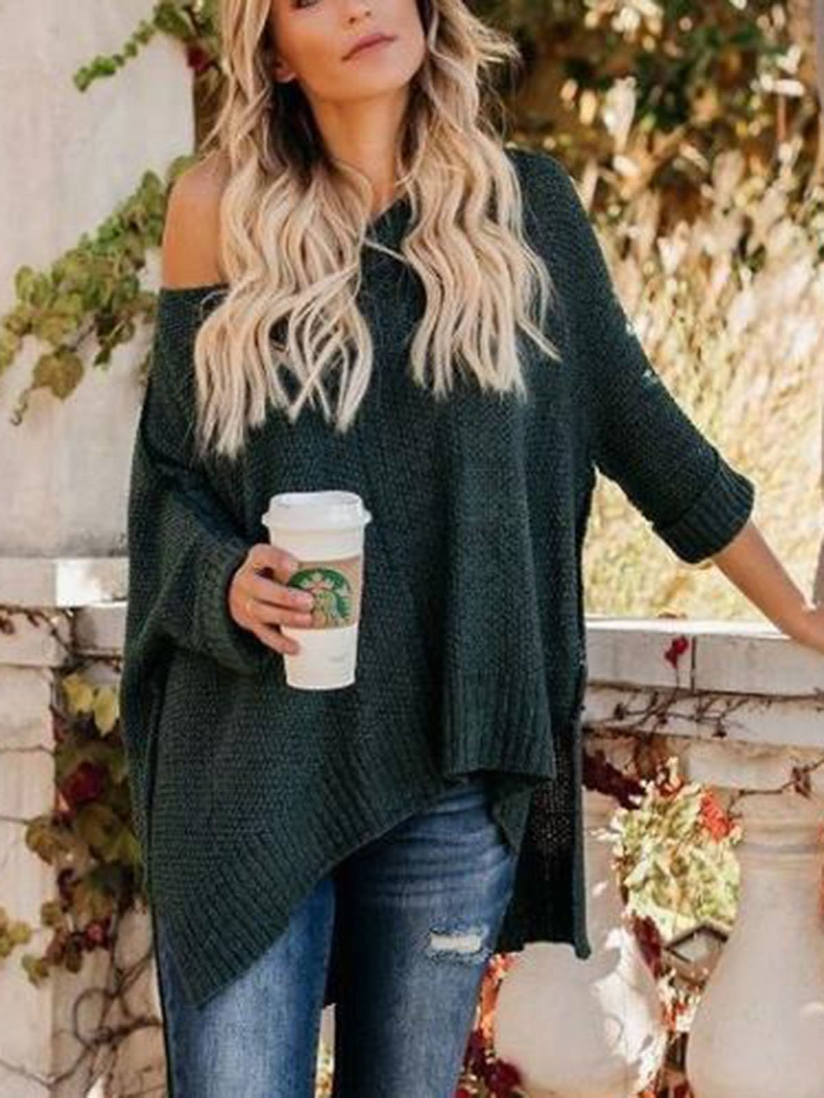 Casual One Shoulder Loose Sweater
