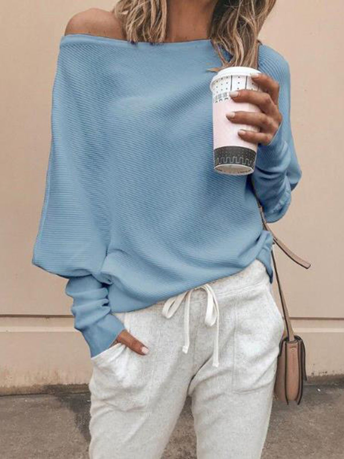 Solid Color Off Shoulder Lantern Sleeve Sweater