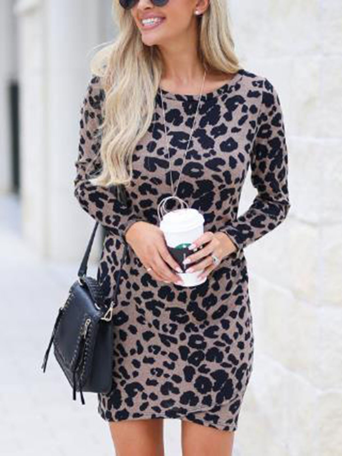 Leopard Print Round Neck Casual Dress