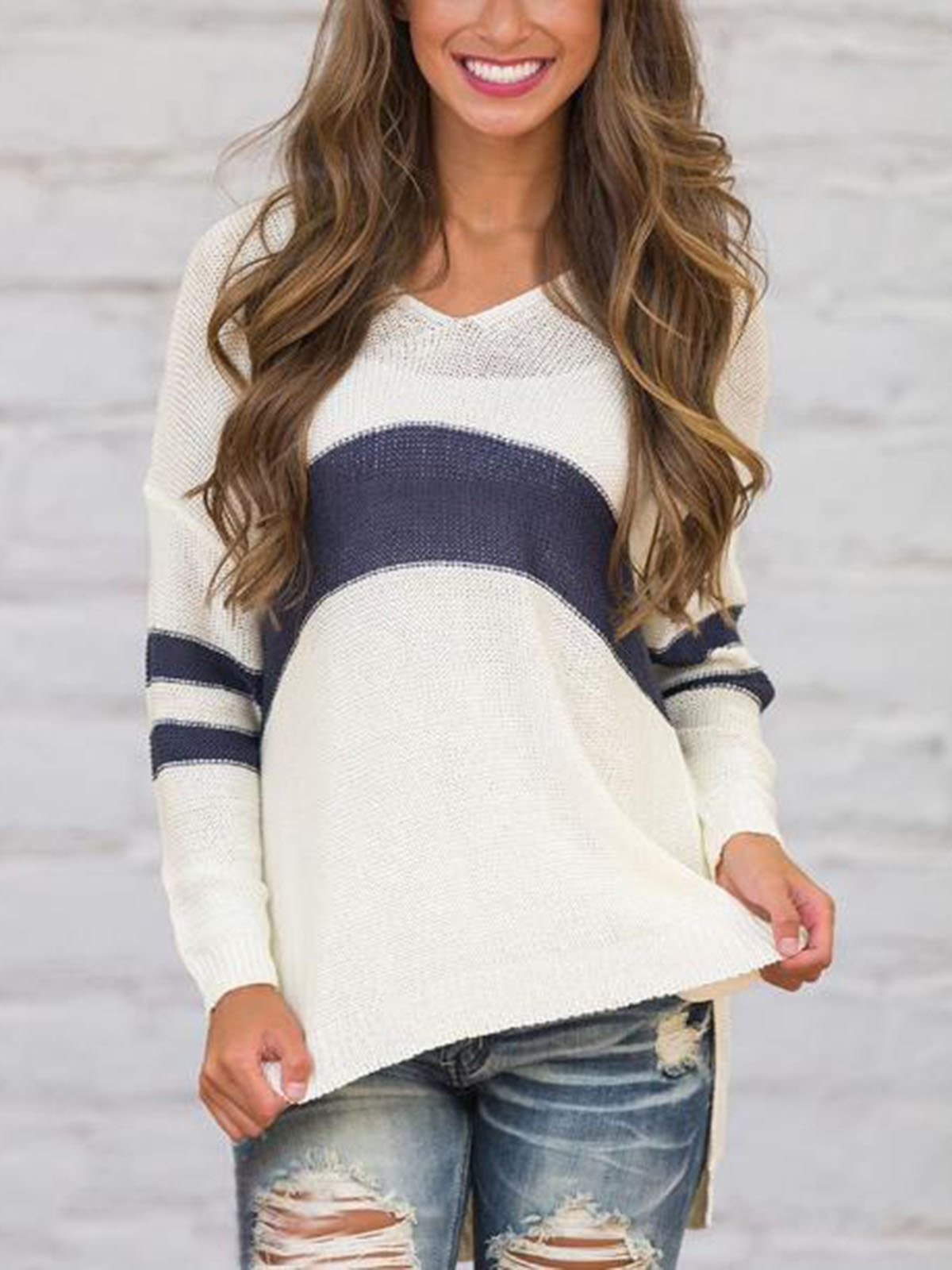 Casual Striped Irregular Knit Sweater
