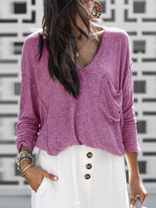 Solid Color V-neck Loose Sweater