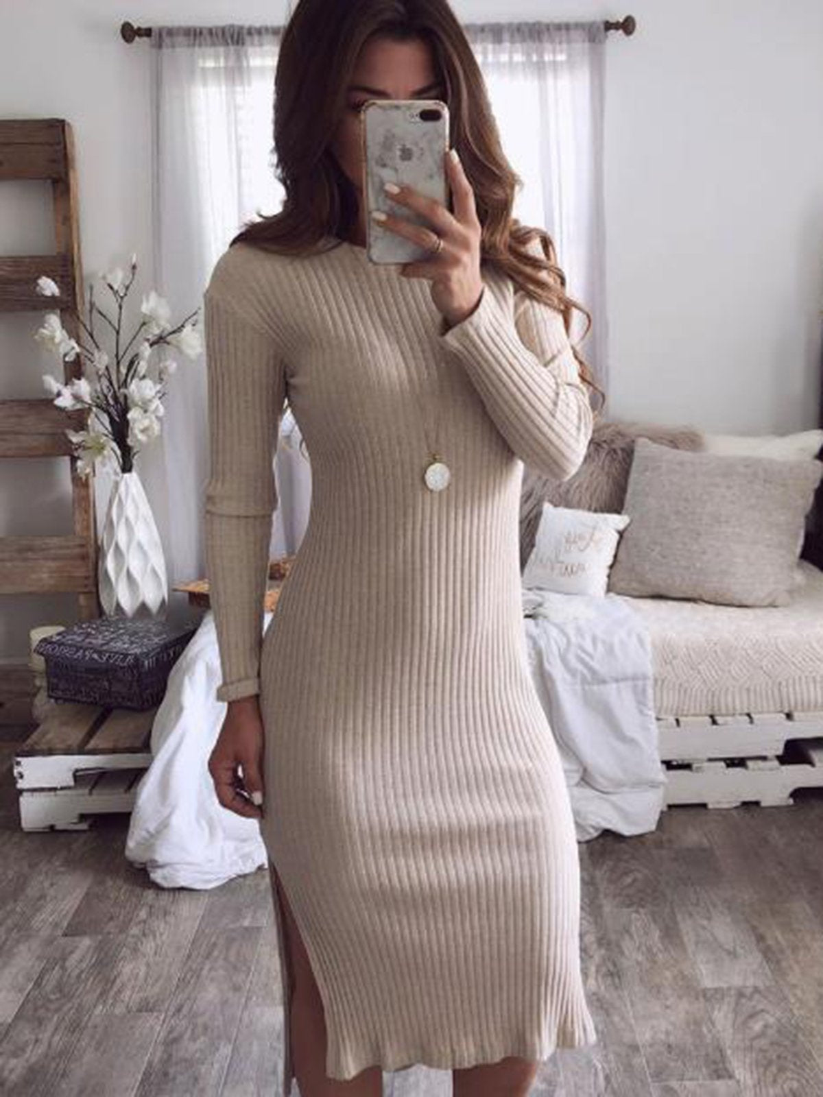 Solid Color Round Neck Sexy Dress