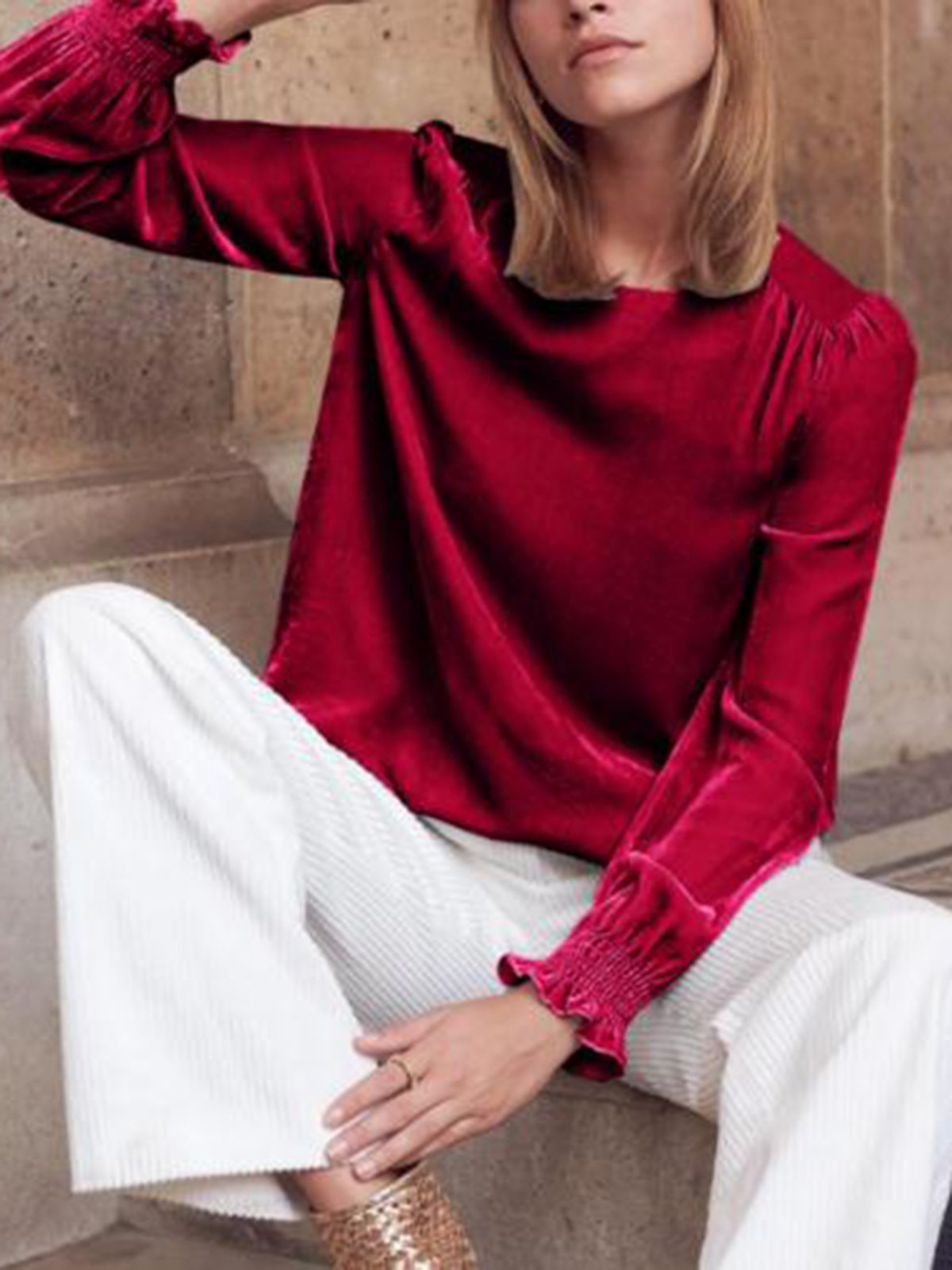 Fashion Vintage Solid Plain Blouses