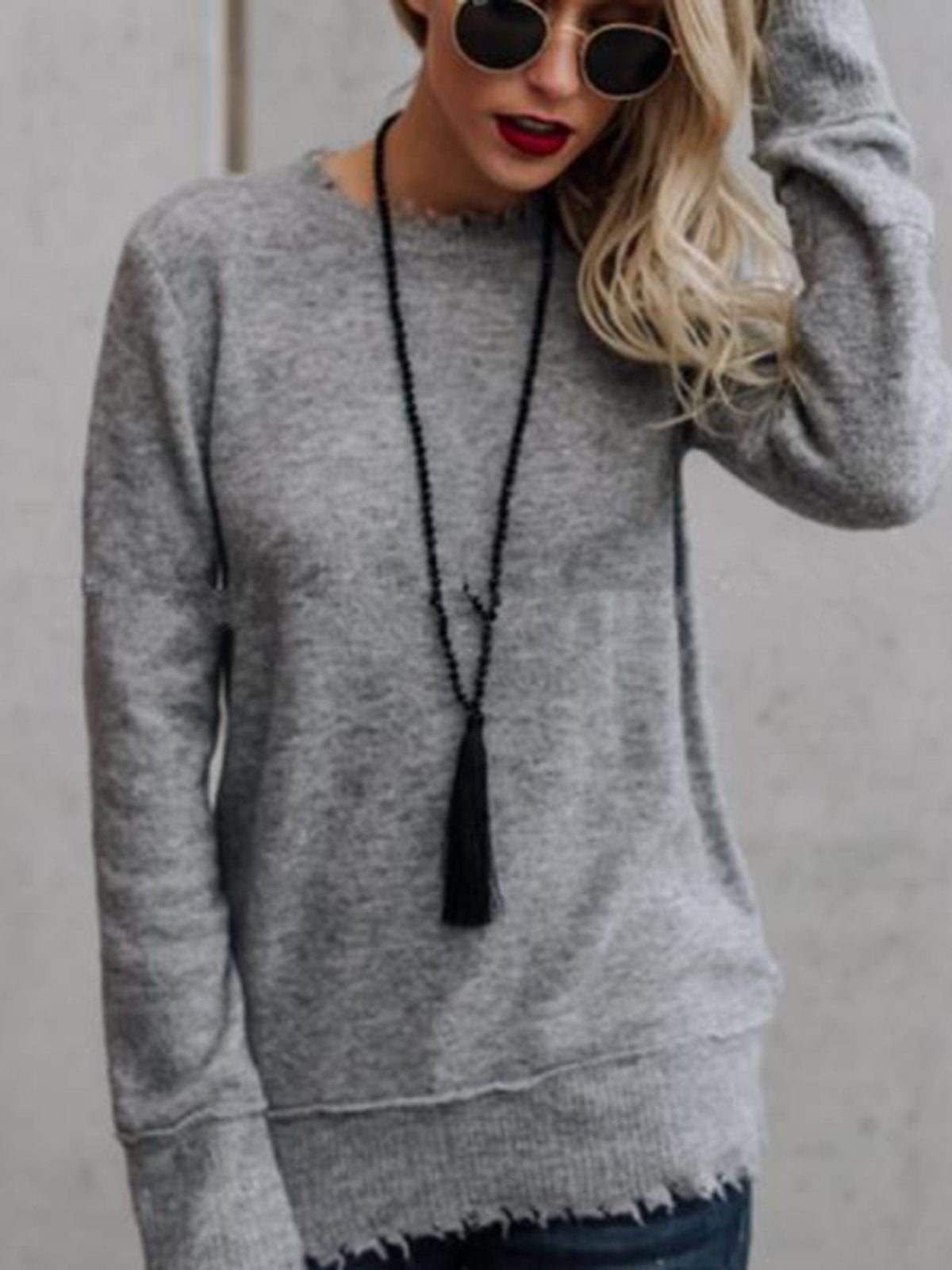 Solid Color Round Neck Casual Sweater