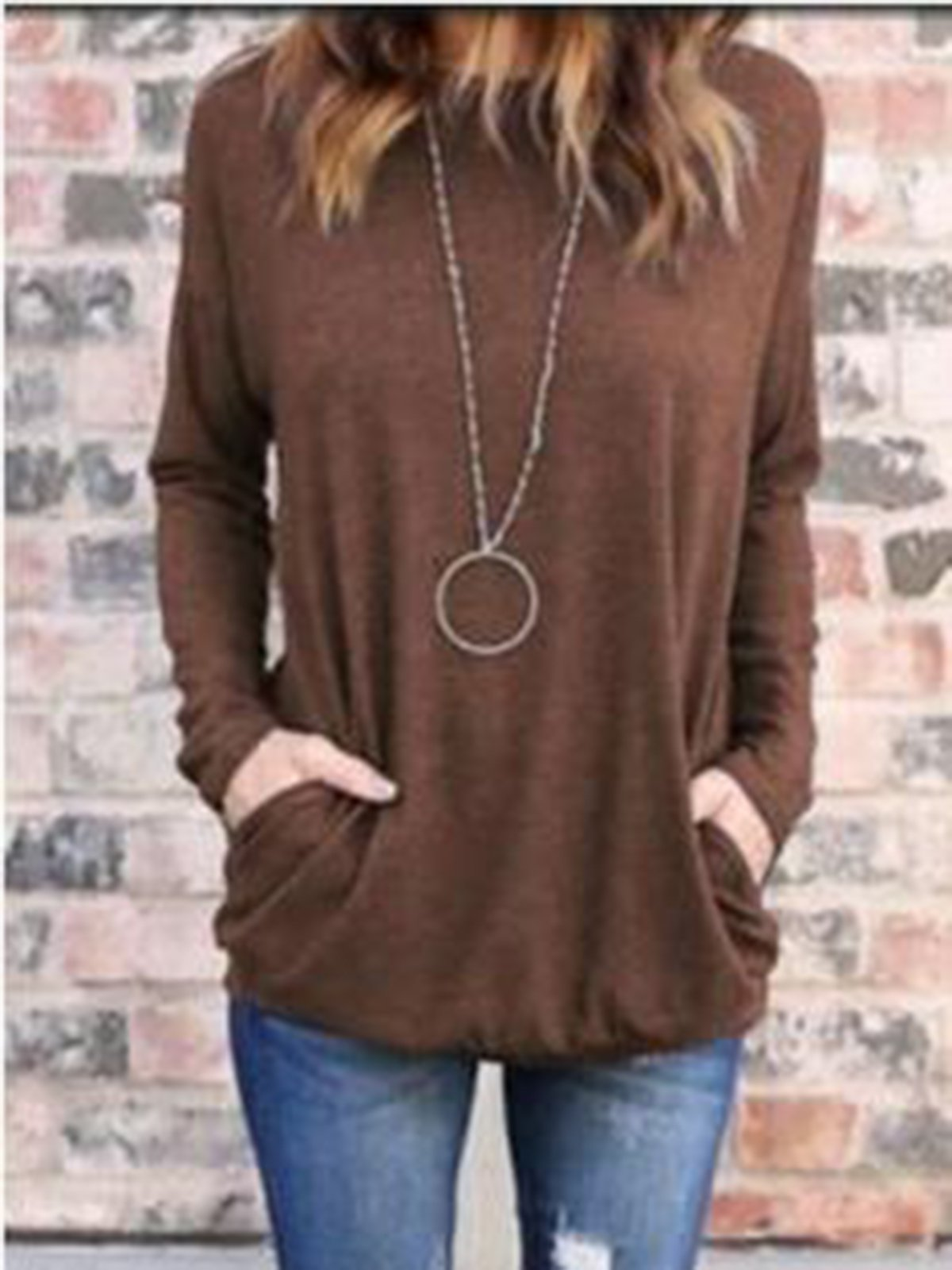 Round Neck Plain Casual T-shirt