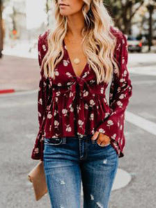 Casual V-neck Print Blouse