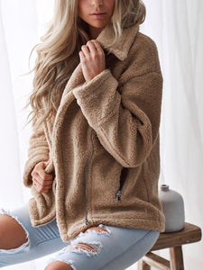 Casual Lapel Plush Warm Coat