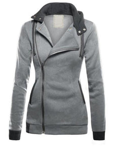 Plain Zipper Hooded Casual Warm Hoodie