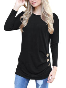 Casual Round Neck Button T-shirt