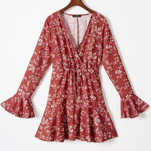 Fluted Sleeve Floral Dress