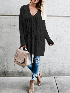 Black Long Sleeve Casual Knitted Sweater
