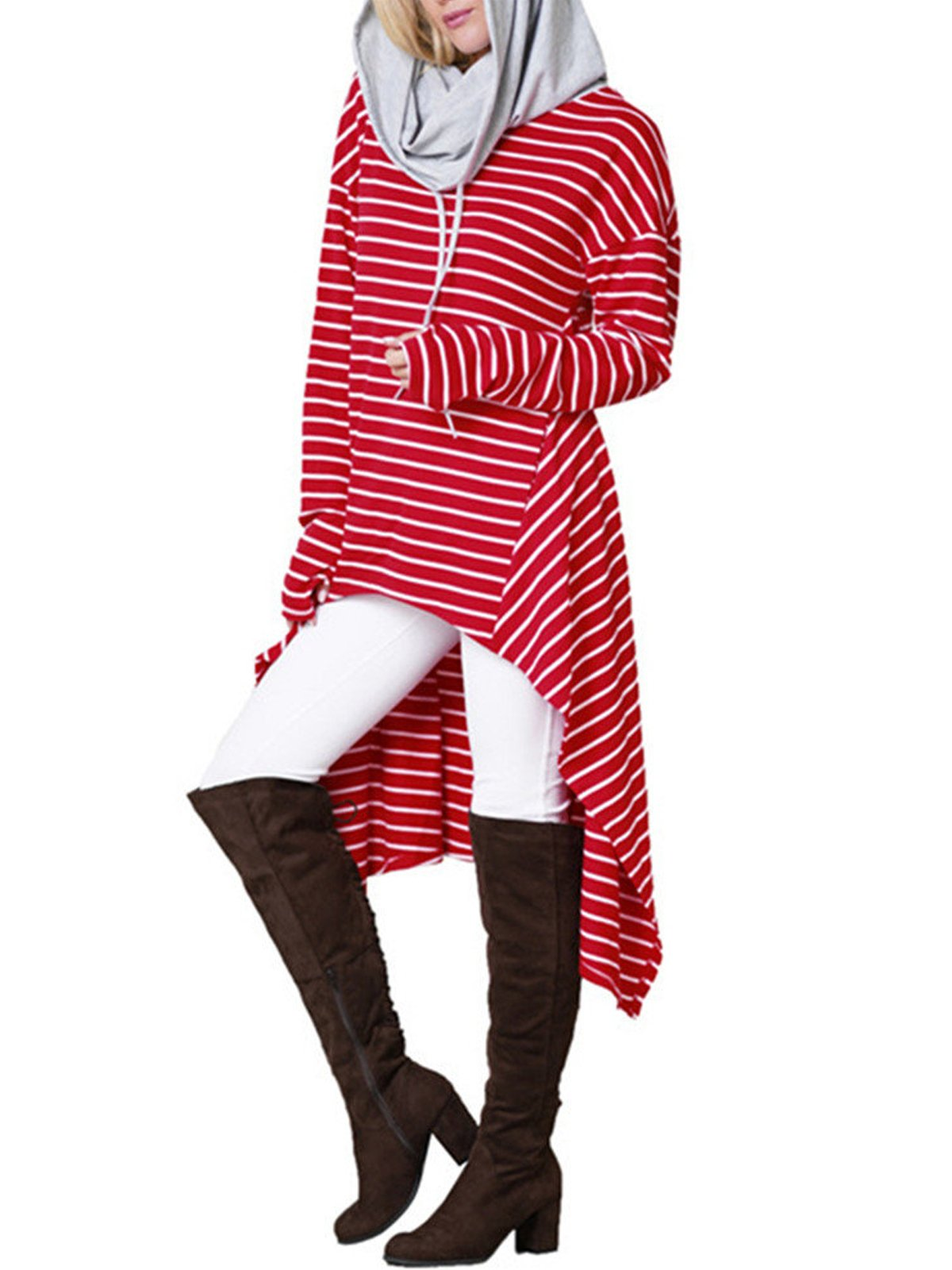 Striped Hooded Inrregular Hem Sweatshirt