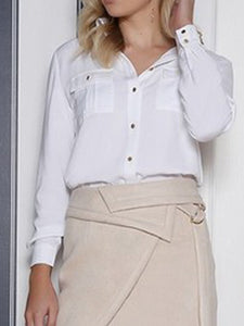 Sexy Lapel Hollow Thin Shirt
