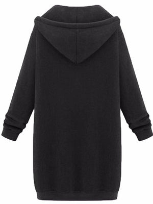 Women Plain Pockets Hoodie Long Sleeve Plus Size Coat