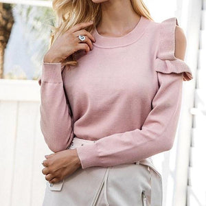 Pink Round Neck Casual  Blouse