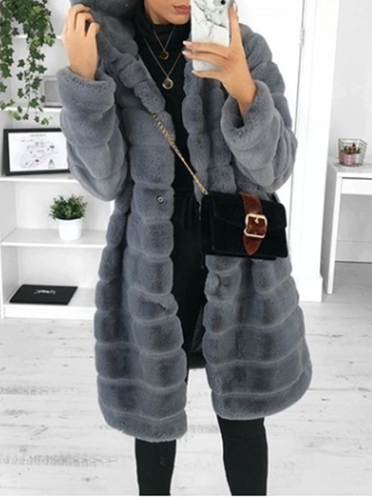 Solid Faux Fur Elegant Thicken Long Coat