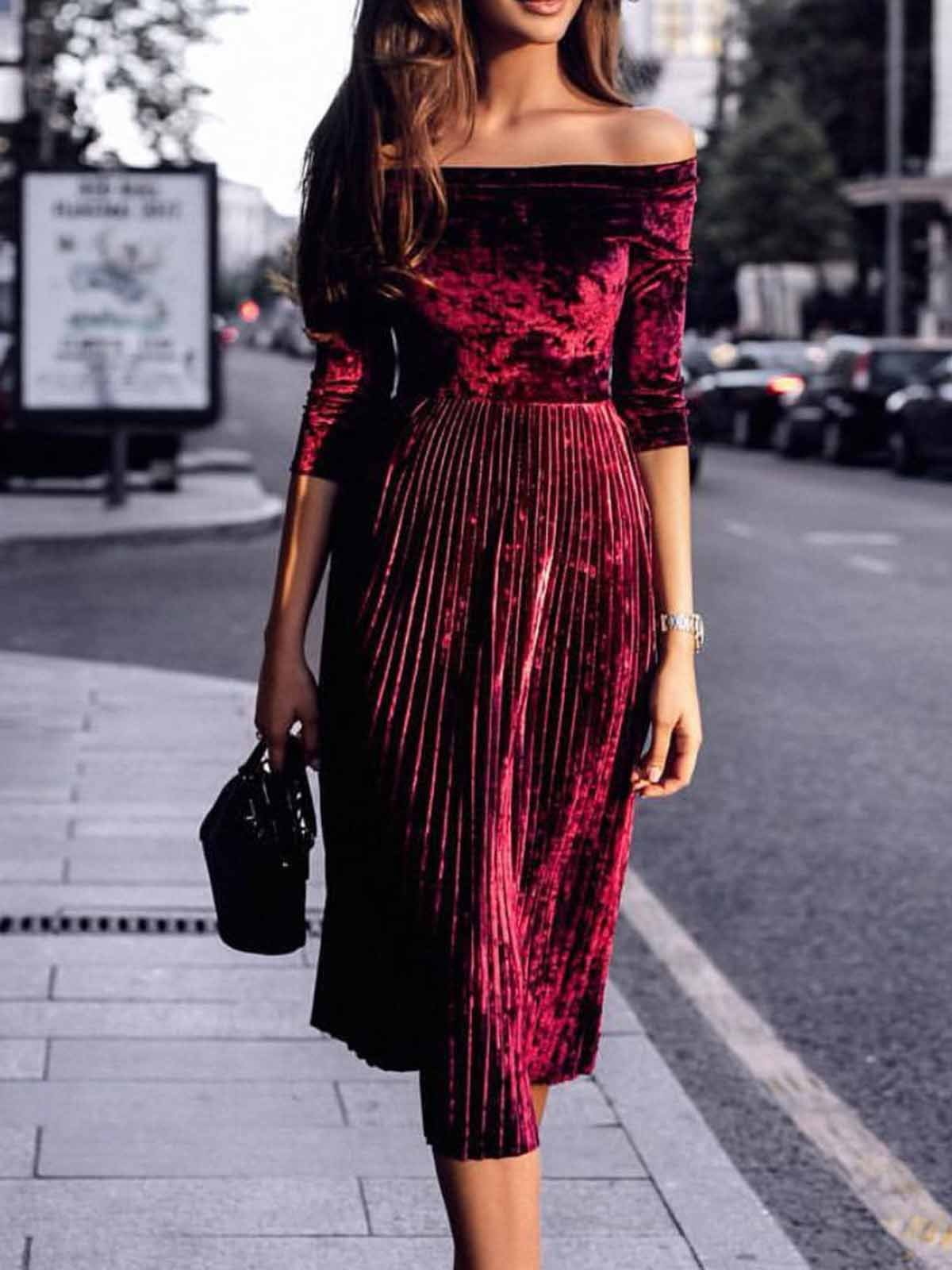 Solid Off Shoulder Pleated Casual Dress
