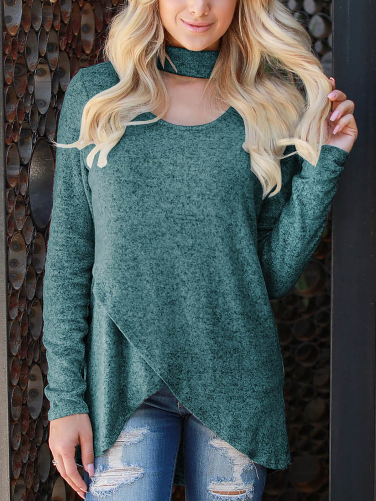 Solid Asymmetrical Casual Sweatershirt