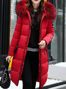 Faux Fur Collar Zipper Thicken Mid-Long Cotton Down Coats